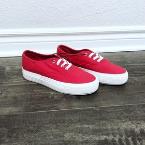 Red and white platform shoes